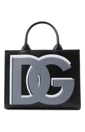 Женский сумка-тоут beatrice small DOLCE & GABBANA черного цвета, арт. BB7023/AQ276   Фото 1 (Размер: small; Материал: Натуральная кожа; Сумки-технические: Сумки-шопперы)