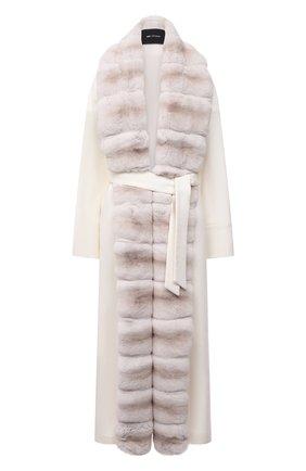 Женское кашемировое пальто с отделкой из меха шиншиллы KITON кремвого цвета, арт. D52611K05I38   Фото 1 (Материал внешний: Шерсть, Кашемир; Материал подклада: Шелк; Рукава: Длинные; Длина (верхняя одежда): Длинные; 1-2-бортные: Однобортные; Стили: Кэжуэл)