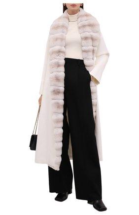 Женское кашемировое пальто с отделкой из меха шиншиллы KITON кремвого цвета, арт. D52611K05I38   Фото 2 (Материал внешний: Шерсть, Кашемир; Материал подклада: Шелк; Рукава: Длинные; Длина (верхняя одежда): Длинные; 1-2-бортные: Однобортные; Стили: Кэжуэл)
