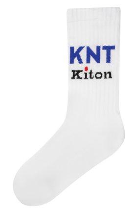 Мужские хлопковые носки KNT белого цвета, арт. UCALZ01X0237A | Фото 1 (Материал внешний: Хлопок; Кросс-КТ: бельё)