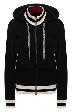 Женский кашемировый кардиган KITON черного цвета, арт. D52733K0536A   Фото 1 (Материал внешний: Кашемир, Шерсть; Рукава: Длинные; Длина (для топов): Стандартные; Женское Кросс-КТ: Кардиган-одежда; Стили: Спорт-шик)