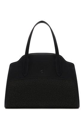 Женская сумка sesia LORO PIANA темно-серого цвета, арт. FAL7871 | Фото 1 (Размер: medium; Материал: Текстиль; Ремень/цепочка: На ремешке; Сумки-технические: Сумки top-handle, Сумки через плечо)