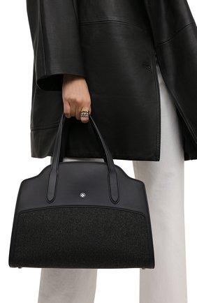 Женская сумка sesia LORO PIANA темно-серого цвета, арт. FAL7871 | Фото 2 (Размер: medium; Материал: Текстиль; Ремень/цепочка: На ремешке; Сумки-технические: Сумки top-handle, Сумки через плечо)