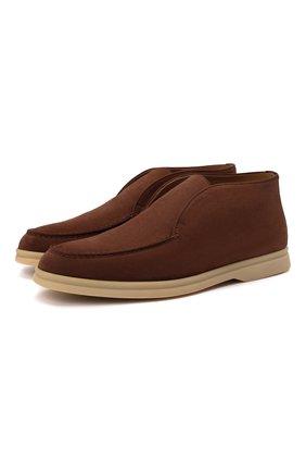 Женские замшевые ботинки open walk LORO PIANA коричневого цвета, арт. FAE9959 | Фото 1 (Материал внутренний: Натуральная кожа; Женское Кросс-КТ: Дезерты-ботинки; Каблук высота: Низкий; Подошва: Плоская)