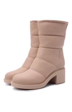 Женские кожаные сапоги GIANVITO ROSSI бежевого цвета, арт. G73274.45G0M.SHLM0US   Фото 1 (Материал утеплителя: Натуральный мех; Подошва: Платформа; Каблук высота: Средний; Каблук тип: Устойчивый)