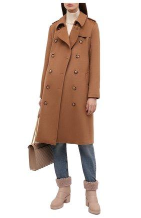 Женские кожаные сапоги GIANVITO ROSSI бежевого цвета, арт. G73274.45G0M.SHLM0US   Фото 2 (Материал утеплителя: Натуральный мех; Подошва: Платформа; Каблук высота: Средний; Каблук тип: Устойчивый)