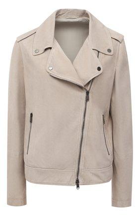 Женская замшевая куртка BRUNELLO CUCINELLI светло-бежевого цвета, арт. M0PCL2873 | Фото 1 (Материал подклада: Синтетический материал; Рукава: Длинные; Длина (верхняя одежда): Короткие; Кросс-КТ: Куртка; Женское Кросс-КТ: Замша и кожа; Стили: Кэжуэл)