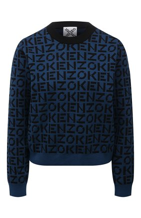 Женский пуловер KENZO синего цвета, арт. FB62PU6363SC | Фото 1 (Материал внешний: Синтетический материал, Хлопок; Рукава: Длинные; Длина (для топов): Стандартные; Женское Кросс-КТ: Пуловер-одежда; Стили: Кэжуэл)