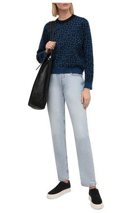 Женский пуловер KENZO синего цвета, арт. FB62PU6363SC | Фото 2 (Материал внешний: Синтетический материал, Хлопок; Рукава: Длинные; Длина (для топов): Стандартные; Женское Кросс-КТ: Пуловер-одежда; Стили: Кэжуэл)