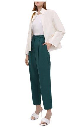 Женские брюки KENZO зеленого цвета, арт. FB62PA0275AJ   Фото 2 (Длина (брюки, джинсы): Стандартные; Материал внешний: Синтетический материал; Женское Кросс-КТ: Брюки-одежда; Силуэт Ж (брюки и джинсы): Прямые; Стили: Кэжуэл)