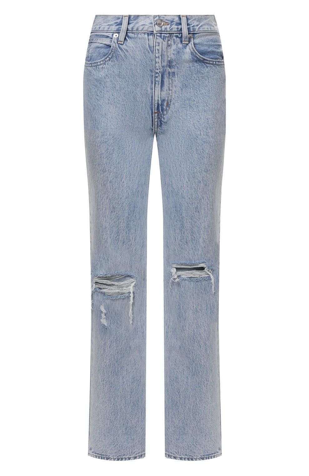 Женские джинсы SLVRLAKE голубого цвета, арт. PF21/LNDJ707S/TMWN | Фото 1 (Кросс-КТ: Деним; Длина (брюки, джинсы): Стандартные; Силуэт Ж (брюки и джинсы): Прямые; Стили: Гранж; Материал внешний: Хлопок; Детали: Потертости)