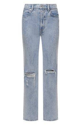 Женские джинсы SLVRLAKE голубого цвета, арт. PF21/LNDJ707S/TMWN | Фото 1 (Материал внешний: Хлопок; Длина (брюки, джинсы): Стандартные; Кросс-КТ: Деним; Силуэт Ж (брюки и джинсы): Прямые; Детали: Потертости; Стили: Гранж)