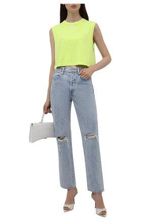 Женские джинсы SLVRLAKE голубого цвета, арт. PF21/LNDJ707S/TMWN | Фото 2 (Материал внешний: Хлопок; Длина (брюки, джинсы): Стандартные; Кросс-КТ: Деним; Силуэт Ж (брюки и джинсы): Прямые; Детали: Потертости; Стили: Гранж)