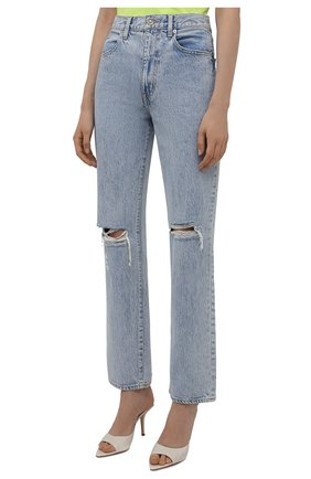Женские джинсы SLVRLAKE голубого цвета, арт. PF21/LNDJ707S/TMWN | Фото 3 (Кросс-КТ: Деним; Длина (брюки, джинсы): Стандартные; Силуэт Ж (брюки и джинсы): Прямые; Стили: Гранж; Материал внешний: Хлопок; Детали: Потертости)