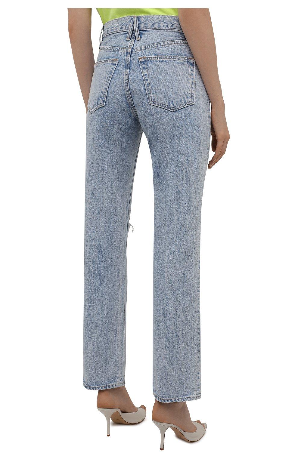 Женские джинсы SLVRLAKE голубого цвета, арт. PF21/LNDJ707S/TMWN | Фото 4 (Кросс-КТ: Деним; Длина (брюки, джинсы): Стандартные; Силуэт Ж (брюки и джинсы): Прямые; Стили: Гранж; Материал внешний: Хлопок; Детали: Потертости)