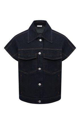 Женская джинсовая куртка DRIES VAN NOTEN синего цвета, арт. 212-010506-3373 | Фото 1 (Рукава: Короткие; Длина (верхняя одежда): Короткие; Материал внешний: Хлопок; Кросс-КТ: Деним, Куртка; Стили: Гранж)
