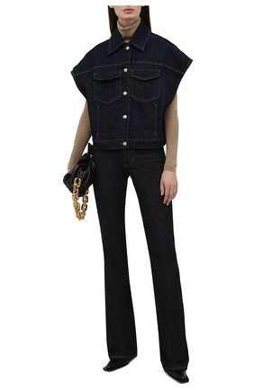 Женская джинсовая куртка DRIES VAN NOTEN синего цвета, арт. 212-010506-3373 | Фото 2 (Рукава: Короткие; Длина (верхняя одежда): Короткие; Материал внешний: Хлопок; Кросс-КТ: Деним, Куртка; Стили: Гранж)