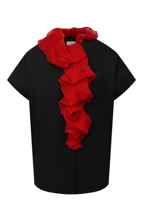 Женская блузка из хлопка и шелка DRIES VAN NOTEN черного цвета, арт. 212-010715-3013   Фото 1 (Рукава: Короткие; Материал внешний: Шелк, Хлопок; Длина (для топов): Стандартные; Женское Кросс-КТ: Блуза-одежда; Принт: Без принта; Стили: Романтичный)