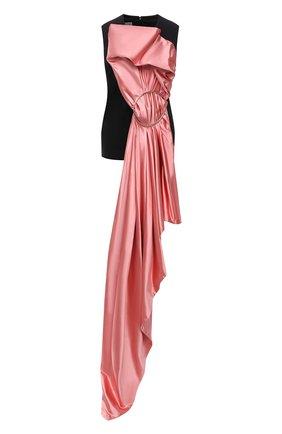 Женский топ из хлопка и шелка DRIES VAN NOTEN розового цвета, арт. 212-010718-3356 | Фото 1 (Материал внешний: Шелк, Хлопок; Длина (для топов): Стандартные; Стили: Романтичный)