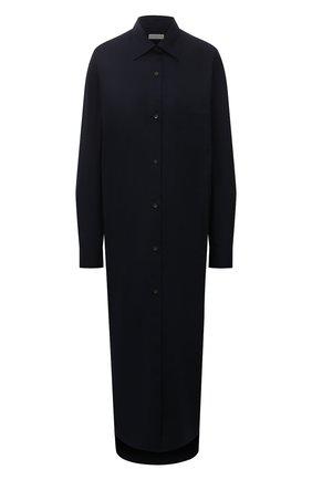 Женское хлопковое платье DRIES VAN NOTEN синего цвета, арт. 212-011028-3013   Фото 1 (Рукава: Длинные; Материал внешний: Хлопок; Длина Ж (юбки, платья, шорты): Макси; Женское Кросс-КТ: Платье-одежда, платье-рубашка; Случай: Повседневный; Стили: Кэжуэл)
