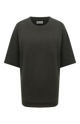 Женская хлопковая футболка DRIES VAN NOTEN хаки цвета, арт. 212-011155-3604 | Фото 1 (Материал внешний: Хлопок; Женское Кросс-КТ: Футболка-одежда; Рукава: 3/4, Короткие; Принт: Без принта; Длина (для топов): Стандартные; Стили: Спорт-шик)