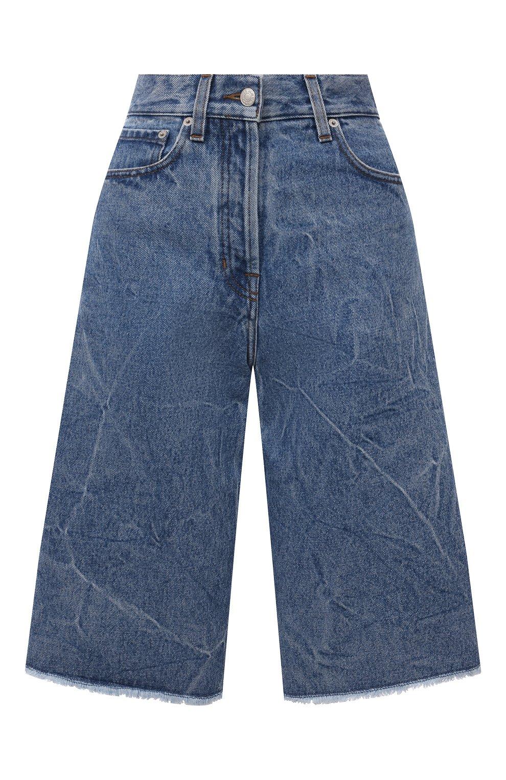 Женские джинсовые шорты DRIES VAN NOTEN синего цвета, арт. 212-012406-3381   Фото 1 (Женское Кросс-КТ: Шорты-одежда; Кросс-КТ: Деним; Стили: Гранж; Материал внешний: Хлопок; Длина Ж (юбки, платья, шорты): Миди)