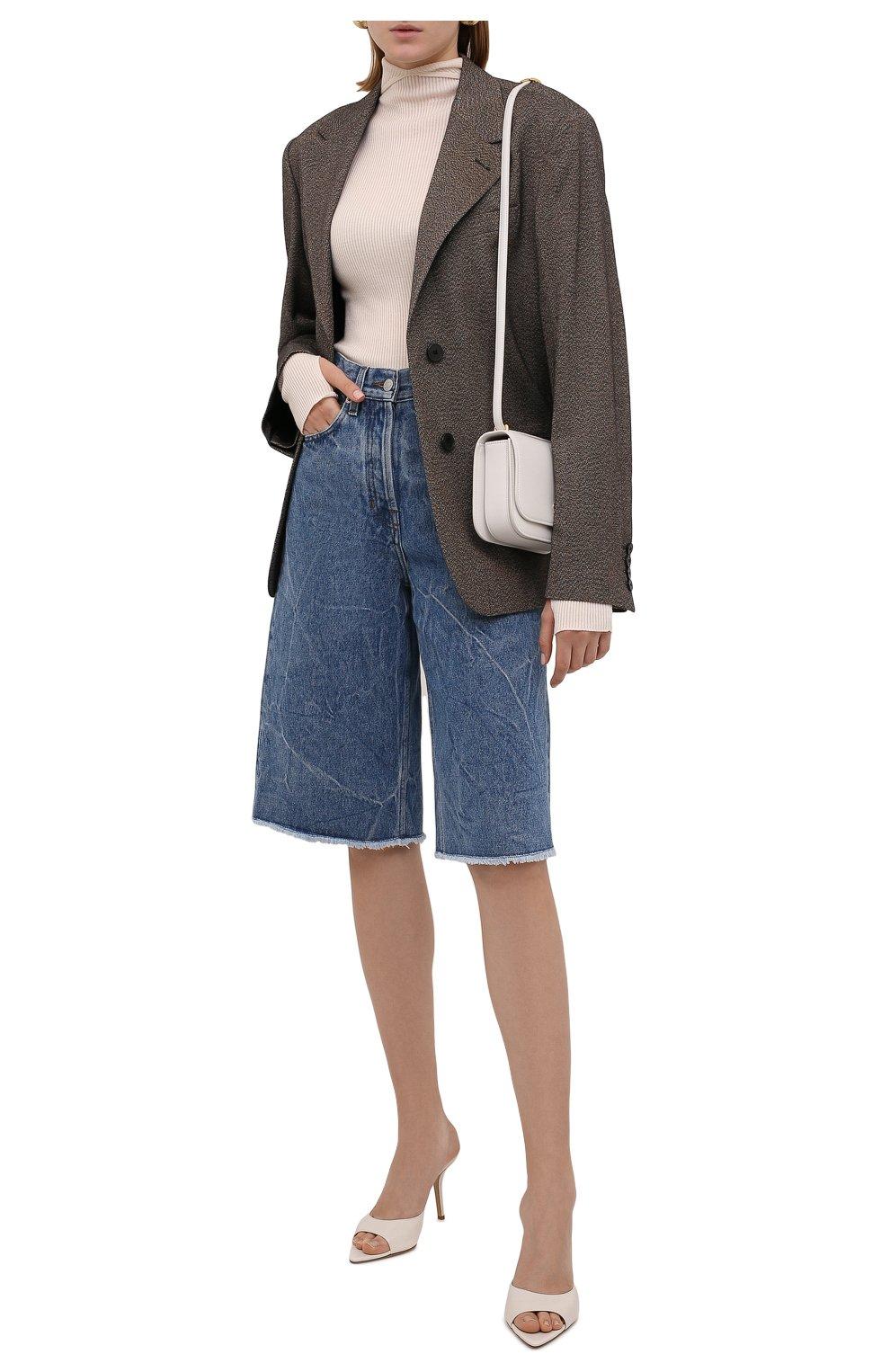 Женские джинсовые шорты DRIES VAN NOTEN синего цвета, арт. 212-012406-3381   Фото 2 (Женское Кросс-КТ: Шорты-одежда; Кросс-КТ: Деним; Стили: Гранж; Материал внешний: Хлопок; Длина Ж (юбки, платья, шорты): Миди)