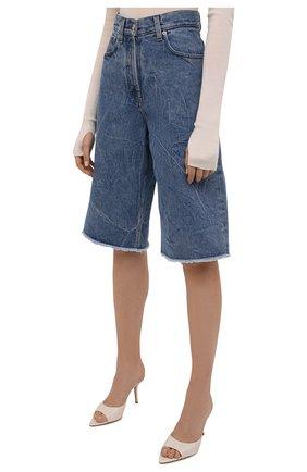 Женские джинсовые шорты DRIES VAN NOTEN синего цвета, арт. 212-012406-3381   Фото 3 (Женское Кросс-КТ: Шорты-одежда; Кросс-КТ: Деним; Стили: Гранж; Материал внешний: Хлопок; Длина Ж (юбки, платья, шорты): Миди)