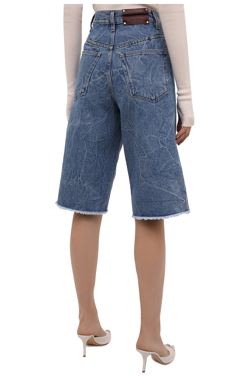 Женские джинсовые шорты DRIES VAN NOTEN синего цвета, арт. 212-012406-3381   Фото 4 (Женское Кросс-КТ: Шорты-одежда; Кросс-КТ: Деним; Стили: Гранж; Материал внешний: Хлопок; Длина Ж (юбки, платья, шорты): Миди)