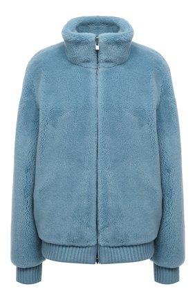 Женская двусторонний бомбер из кашемира и шелка LORO PIANA голубого цвета, арт. FAL3912 | Фото 1 (Материал внешний: Кашемир, Шерсть; Материал подклада: Синтетический материал; Кросс-КТ: Куртка; Рукава: Длинные; Длина (верхняя одежда): Короткие; Стили: Кэжуэл)