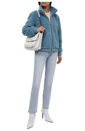 Женская двусторонний бомбер из кашемира и шелка LORO PIANA голубого цвета, арт. FAL3912 | Фото 2 (Материал внешний: Кашемир, Шерсть; Материал подклада: Синтетический материал; Кросс-КТ: Куртка; Рукава: Длинные; Длина (верхняя одежда): Короткие; Стили: Кэжуэл)