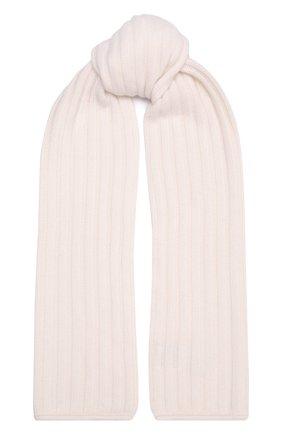 Женский кашемировый шарф ALLUDE белого цвета, арт. 215/60631 | Фото 1 (Материал: Кашемир, Шерсть)