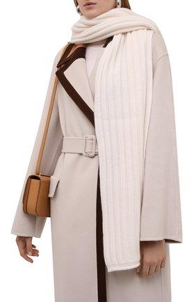Женский кашемировый шарф ALLUDE белого цвета, арт. 215/60631 | Фото 2 (Материал: Кашемир, Шерсть)