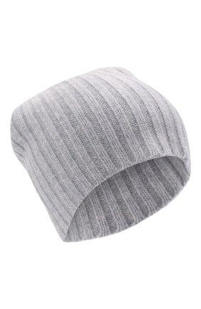 Женская кашемировая шапка ALLUDE серого цвета, арт. 215/60630 | Фото 1 (Материал: Кашемир, Шерсть)