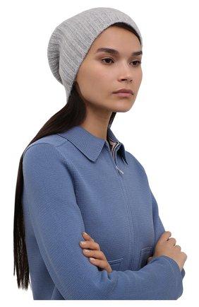 Женская кашемировая шапка ALLUDE серого цвета, арт. 215/60630 | Фото 2 (Материал: Кашемир, Шерсть)