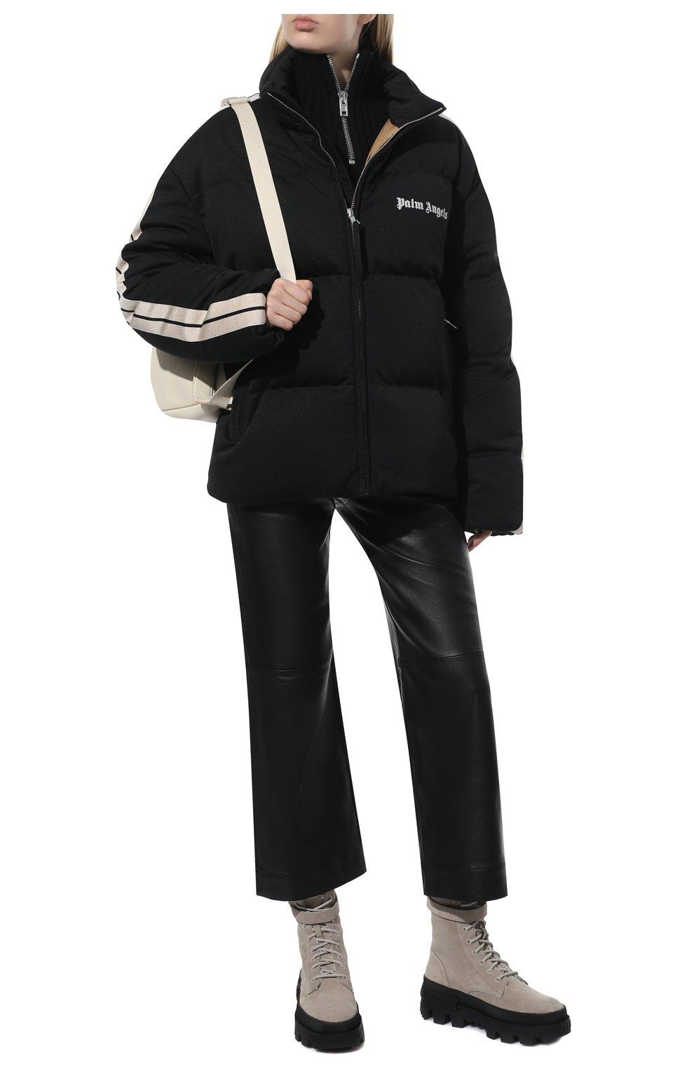 Женские замшевые ботинки carinne MONCLER бежевого цвета, арт. G2-09B-4F715-00-019S7 | Фото 2 (Подошва: Платформа; Материал утеплителя: Натуральный мех; Материал внутренний: Натуральная кожа; Каблук высота: Средний; Материал внешний: Замша; Женское Кросс-КТ: Зимние ботинки)