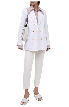 Женские брюки GIORGIO ARMANI белого цвета, арт. 1WHPP0JY/T02VH | Фото 2 (Длина (брюки, джинсы): Стандартные; Материал внешний: Синтетический материал, Шерсть; Женское Кросс-КТ: Брюки-одежда; Силуэт Ж (брюки и джинсы): Прямые; Стили: Кэжуэл)
