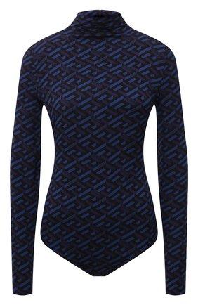 Женское шелковое боди VERSACE синего цвета, арт. 1002161/1A01805   Фото 1 (Материал внешний: Шелк; Рукава: Длинные; Женское Кросс-КТ: Боди-одежда; Стили: Кэжуэл)