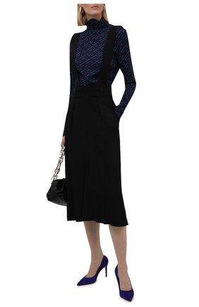 Женское шелковое боди VERSACE синего цвета, арт. 1002161/1A01805   Фото 2 (Материал внешний: Шелк; Рукава: Длинные; Женское Кросс-КТ: Боди-одежда; Стили: Кэжуэл)