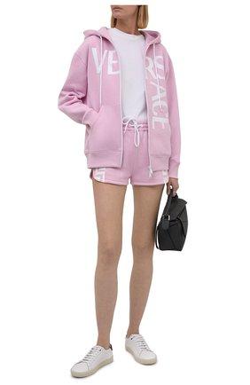 Женский хлопковая толстовка VERSACE розового цвета, арт. 1001049/1A01174   Фото 2 (Рукава: Длинные; Длина (для топов): Стандартные; Материал внешний: Хлопок; Женское Кросс-КТ: Кардиган-одежда, Толстовка-одежда; Стили: Спорт-шик)