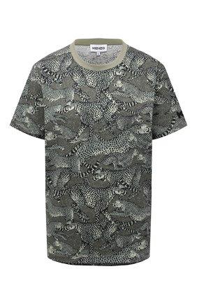 Женская хлопковая футболка KENZO хаки цвета, арт. FB62TS9194SA | Фото 1 (Рукава: Короткие; Материал внешний: Хлопок; Длина (для топов): Стандартные; Женское Кросс-КТ: Футболка-одежда; Принт: С принтом; Стили: Спорт-шик)