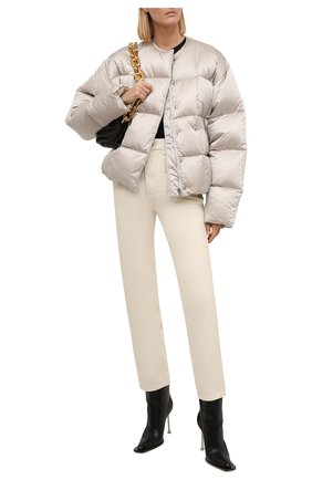 Женская куртка GIVENCHY серого цвета, арт. BW00CT13Q3   Фото 2 (Материал внешний: Синтетический материал; Материал утеплителя: Пух и перо; Рукава: Длинные; Материал подклада: Синтетический материал; Длина (верхняя одежда): Короткие; Кросс-КТ: Куртка; Стили: Спорт-шик)