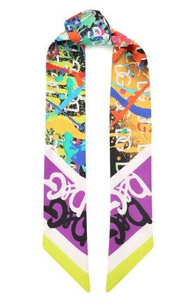 Женский шелковый платок DOLCE & GABBANA зеленого цвета, арт. FS215A/FI17J   Фото 1 (Материал: Текстиль, Шелк; Принт: С принтом)