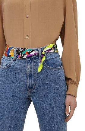 Женский шелковый платок DOLCE & GABBANA зеленого цвета, арт. FS215A/FI17J   Фото 2 (Материал: Текстиль, Шелк; Принт: С принтом)