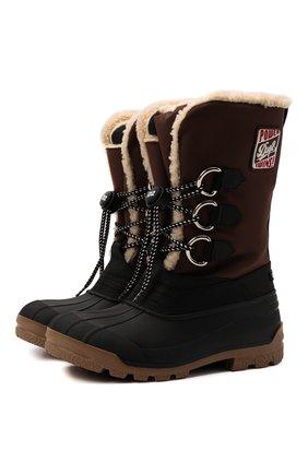 Мужские комбинированные сапоги DSQUARED2 коричневого цвета, арт. SBM0011 11704597 | Фото 1 (Материал внутренний: Текстиль; Материал внешний: Текстиль; Подошва: Плоская; Мужское Кросс-КТ: Сапоги-обувь)