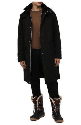 Мужские комбинированные сапоги DSQUARED2 коричневого цвета, арт. SBM0011 11704597 | Фото 2 (Материал внутренний: Текстиль; Материал внешний: Текстиль; Подошва: Плоская; Мужское Кросс-КТ: Сапоги-обувь)