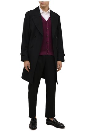 Мужской шерстяной кардиган DANIELE FIESOLI фиолетового цвета, арт. DF 0006 | Фото 2 (Материал внешний: Шерсть; Мужское Кросс-КТ: Кардиган-одежда; Стили: Кэжуэл; Рукава: Длинные; Длина (для топов): Стандартные)