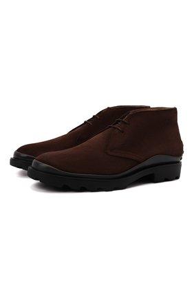 Мужские замшевые ботинки TOD'S темно-коричневого цвета, арт. XXM04E00D80RE0 | Фото 1 (Подошва: Плоская; Материал внутренний: Натуральная кожа; Мужское Кросс-КТ: Ботинки-обувь, Дезерты-обувь; Материал внешний: Замша)