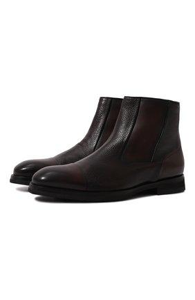 Мужские кожаные сапоги BARRETT темно-коричневого цвета, арт. 212U029.2/BETIS CREAM | Фото 1 (Подошва: Плоская; Материал утеплителя: Натуральный мех; Мужское Кросс-КТ: Сапоги-обувь)
