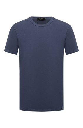 Мужская хлопковая футболка TOM FORD темно-синего цвета, арт. T4M081040 | Фото 1 (Материал внешний: Хлопок; Кросс-КТ: домашняя одежда; Длина (для топов): Стандартные; Рукава: Короткие)